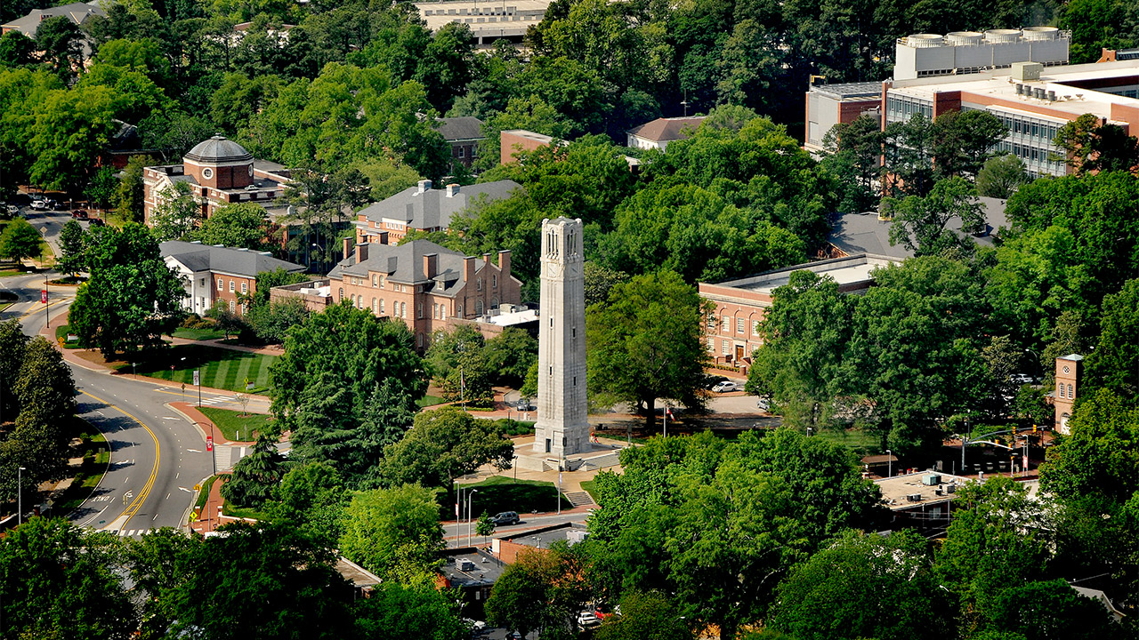 Aerial view of NC State University belltower